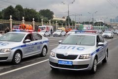 Police cars at First Moscow Parade of City Transport Stock Images