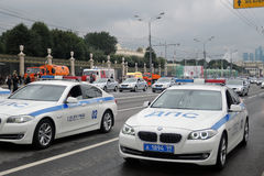 Police cars at First Moscow Parade of City Transport Royalty Free Stock Photos