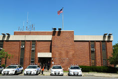 Police cars in the front of NYPD 61st Precinct in Brooklyn , NY Stock Photography