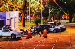 Police cars of Guarda Municipal at and event in Campo Grande MS,. Campo Grande, Brazil - April 14, 2018: Local police cars Guarda Municipal at night on an event Stock Images