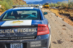 Police car. Closeup of mexican police car, Baja California Sur, Loreto and Santa Rosalia area. Tropical Storm Juliette August 28, 2013 Royalty Free Stock Photo