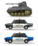 Police cars and military tank. Illustration Royalty Free Stock Image