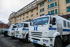 Police cars in Moscow. Near Red Square Royalty Free Stock Photo