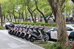 Police cars and motocycles placed neatly by the road. Police car and motocycle of taipei city, taiwan Stock Photo