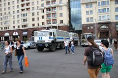 Police cars near the Manege square in Moscow Royalty Free Stock Images