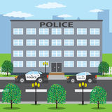 Police cars near police building. Royalty Free Stock Photography