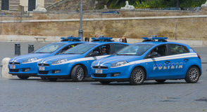Police cars parked Stock Photo