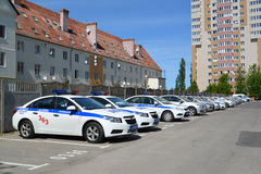 The police cars parked on office parking Royalty Free Stock Photos