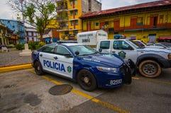 Police Cars patrolling the casco viejo of Panama Royalty Free Stock Photo
