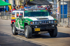 Police cars patrolling streets just before. BARRANQUILLA, COLOMBIA - FEBRUARY 15, 2015: Police cars patrolling streets just before Colombia's most important Stock Photography