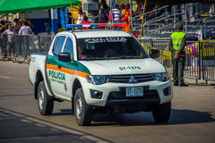 Police cars patrolling streets just before. BARRANQUILLA, COLOMBIA - FEBRUARY 15, 2015: Police cars patrolling streets just before Colombia's most important Royalty Free Stock Images