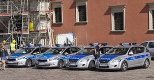 Police cars. Polish police cars, deployed in the Warsaw square Stock Image