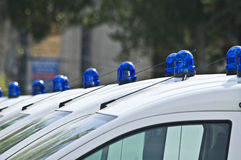 Police cars with red and blue color sirens. Red and blue color sirens on police cars royalty free stock photo
