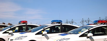 Police cars with sirens red and blue color Stock Images