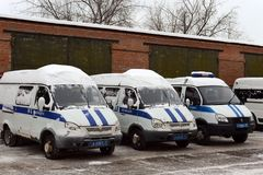 Police cars after snowfall. MOSCOW, RUSSIA - JANUARY 20, 2016: Police cars after snowfall Stock Images
