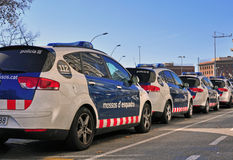 Police cars on the street of Barcelona Stock Photography