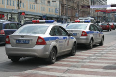 Police cars on the streets of Moscow Royalty Free Stock Photo