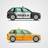 Police cars and taxis Stock Photo