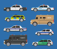 Police cars. Vector international police cars, includong SWAT and bill collector trucks Stock Photo
