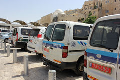 Police cars at the Wailing Wall in Jerusalem. JERUSALEM, ISRAEL - June 03, 2015: police cars and cars of border troops of Israel at the Wailing Wall in Jerusalem Stock Images