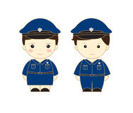 Police cartoon. Police man girl cartoon vector illustration