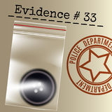 Police case evidence. Stamp and button in a bag. Vector illustration Stock Images