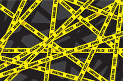 Police caution tape. Overlapping each other Stock Images