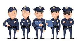 Police character. Set of different poses and gestures paying. Vector illustration. Flat style stock illustration
