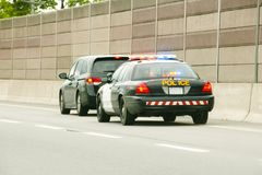 Police Stop. Police Chase Ending in Stop Royalty Free Stock Images