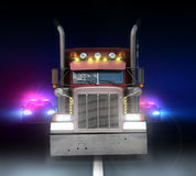 Police chase through the night highway. Police chase on the night of the highway peterbilt truck Stock Image