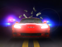 Police chase through the night highway. Stock Photo