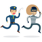 Police Chasing Thief. Young police man running chasing thief escaping with stolen bag Royalty Free Stock Photo