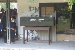 police checked the gun Royalty Free Stock Photos