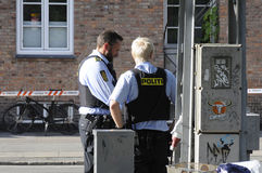 POLICE CHECKING KINIF FIGHT ON AMAGER Royalty Free Stock Photo