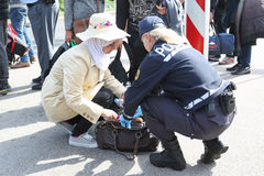 Police checking refugees at slovenian border Royalty Free Stock Photos