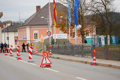 Police checkpoint at German-Austrian border. German Federal Police stand at the german side of the german-austrian border in Simbach Stock Image