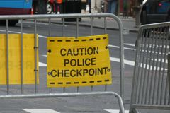 Police Checkpoint. A police checkpoint in Midtown Manhattan royalty free stock images