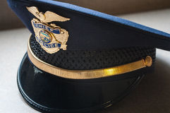 Police Chief Hat. Closeup of a blue municipal Police Chief hat.  Alaska Stock Photo