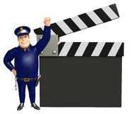 Police with Clapper board. 3d rendered illustration of Police with Clapper board Stock Photo