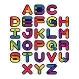 Police colorée et alphabet Lettres d'alphabet de vecteur Image stock