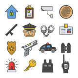 Police color icon set. Security agency  vector illustration. On white background Royalty Free Stock Images