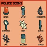 Police color outline isometric icons Royalty Free Stock Photography
