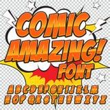 Police comique de détail élevé créatif Alphabet dans le style des bandes dessinées, art de bruit Lettres et chiffres pour la déco Image stock