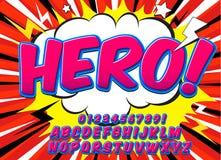 Police comique de détail élevé créatif Alphabet dans le style des bandes dessinées, art de bruit Lettres et chiffres pour la déco Image libre de droits