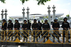 Police Commandos Stand Guard at Thai Parliament Stock Images