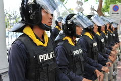 Police Commandos Stand Guard at Thai Parliament Royalty Free Stock Photo