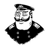 Police Commissioner. Man in uniform and epaulets. Honest man in law. Mustachioed man with bulging eyes. Comic character.  Stock Photography
