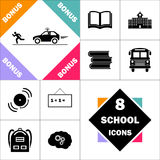 Police computer symbol. Police Icon and Set Perfect Back to School pictogram. Contains such Icons as Schoolbook, School  Building, School Bus, Textbooks, Bell Stock Photo