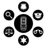 Police concept with car and accessories icons stock illustration