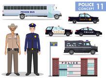 Police concept. Detailed illustration of police station, policeman, sheriff, prison bus, armored S.W.A.T. truck and car in flat st Royalty Free Stock Photo
